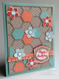 Stampin' Up! Petite Petals Hexagon Hive Birthday Card Elaine's Creations by maureen Hexagon Cards, Damier, Fun Fold Cards, Card Sketches, Happy Birthday Cards, Creative Cards, Flower Cards, Greeting Cards Handmade, Homemade Cards