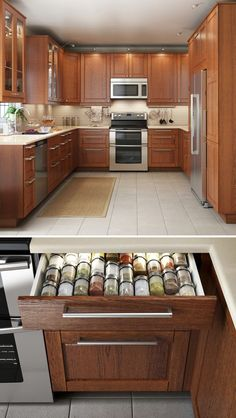 A kitchen that looks great & functions even better makes cooking that much more enjoyable! IKEA SEKTION kitchen interior organizers help to keep even the smallest items, like utensils and spices, neat and organized.: