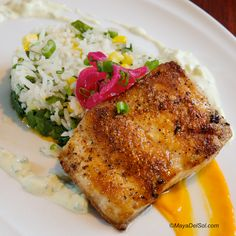 pescado del dia | whitefish, swiss chard, rice, mango-habanero sauce