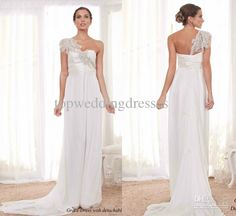 Wholesale Mermaid Dress - Buy Anna Campbell Wedding Dresses A Line Asymmetrical Neckline Chiffon With A Detachable Train Lace Floor Length Bridal Dresses, $138.36 | DHgate.com