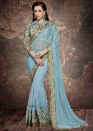 Wedding Wear Sky Blue Georgette Embroidered Work Saree