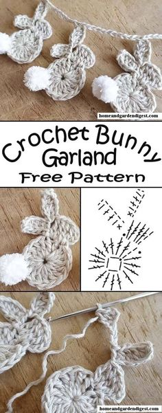 Crochet Easter Bunny Garland - Free Pattern - Sew Historically and knitting knit knitting crochet diy Crochet Diy, Crochet Easter, Crochet Garland, Easter Crochet Patterns, Crochet Bunny Pattern, Crochet Decoration, Crochet Patterns Amigurumi, Crochet Crafts, Crochet Projects