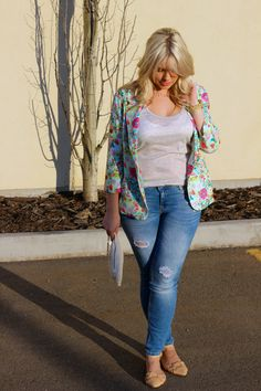 The Lovely Blonde Closet looking ready for spring in our Time to Flourish blazer.