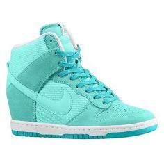 Nike Sky Hi Dunk Wedge Sneaker in Teal ❤ liked on Polyvore featuring shoes, sneakers, nike, wedge heel sneakers, hidden wedge sneakers, nike footwear and wedge heel shoes