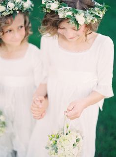 Flower Girls with Head Wreaths and White Pomanders