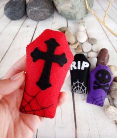 Items similar to Halloween Decorations Coffin Tomb Gothic Home Decor Halloween Party Favors Kids Spooky Decor Trick or Treat Halloween Ornaments Cross Skull on Etsy Halloween Party Favors, Kid Party Favors, Halloween Celebration, Felt Halloween Ornaments, Felt Ornaments, Felt Decorations, Diy Halloween Decorations, Halloween Mignon, Halloween Coffin