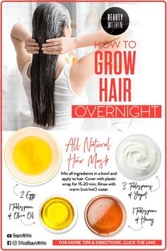 Today I will show you 2 DIY hair masks that will help your hair to grow faster overnight! It will also help with hair loss. Have you heard about them? hair remedies How To Grow Your Hair Overnight Help Hair Grow, How To Grow Your Hair Faster, Grow Long Hair, How To Make Hair, How To Apply, Long Hair Growing Tips, Grow Hair Back, Hair Loss Help, Hair Growing Recipes