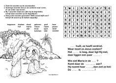 woordzoeker - Pasen - Jezus leeft!  Zoek de woorden, en schrijf woorden in het Paasverhaal.   www.bijbelidee.nl