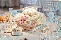Mocha & Blush centerpiece by Fuscia Designs for Cynthia Martyn Events