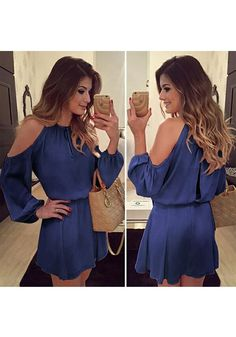 Women Dress 2018 Summer Sexy Off Shoulder Long Sleeve Chiffon Dress Casual Style Mini Party Beach Dresses Vestidos de fiesta Long Sleeve Chiffon Dress, Chiffon Dresses, Sleeved Dress, Skater Dresses, Mini Dresses, Beach Dresses, Look Fashion, Fashion Outfits, Chic Outfits