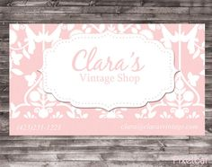 Pink damask buisness card with stitches