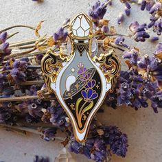 Lavender Decor, Witch Broom, Pin And Patches, Hard Enamel Pin, Cute Pins, Crystal Ball, Design Crafts, Pin Collection, Crystals