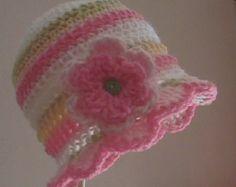 Bebé niña sombrero, sombrero del bebé, sombrero de la gorrita tejida del ganchillo, sombrero del ganchillo de la flor, sombrero del ganchillo del bebé, tallas 0-12 meses