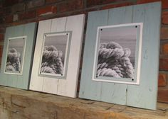Set of 3 Large White & Seafoam Green Plank Frames for 8x10 Photos