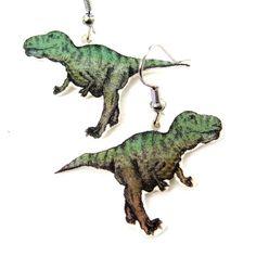 Hand Drawn T-Rex Dinosaur Shaped Dangle Earrings | Shrink Plastic