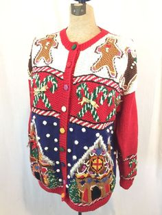 Ugly Christmas Sweater Marisa Christina Classics 1992 Vintage Cardigan WOW #MarisaChristina #Sweater #Christmas