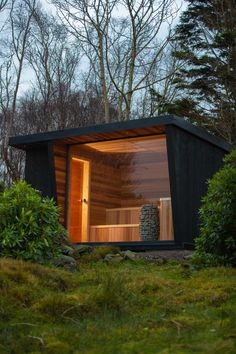 Backyard Office, Backyard Studio, Backyard Sheds, Jacuzzi, Building A House, Building Design, Cedar Cladding, Outdoor Sauna, Sauna Design