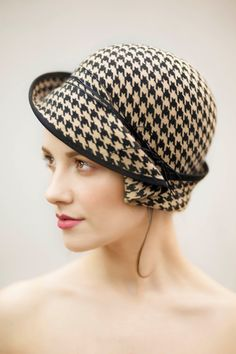 Hit It With A Hat! Fashion Accessories  Style Trends City Cloche Hat in Houndstooth Check Felt in by MaggieMowbrayHats