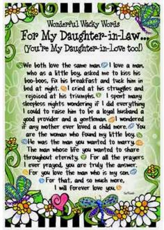 Super Birthday Quotes For Daughter In Law Wedding Gifts Ideas Daughter In Law Quotes, Daughter In Law Gifts, Birthday Quotes For Daughter, Son In Law, To My Daughter, Grandson Quotes, Wedding Poems, Wedding Prayer, Wedding Gifts