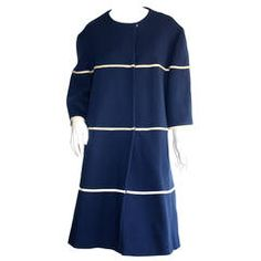 Lilli Ann 1960s Vintage Navy Blue & White Swing Jacket Trapeze Coat