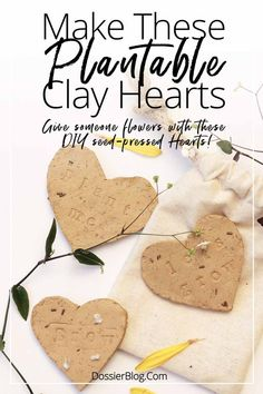 DIY Seed-Growing Clay Hearts for giving flowers Earth Day Crafts, Nature Crafts, Clay Projects, Clay Crafts, Diy For Kids, Crafts For Kids, Seed Craft, Giving Flowers, Diy Flowers