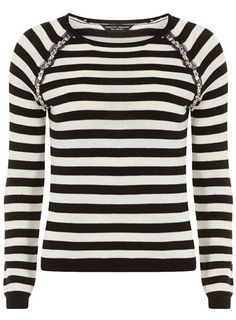 Black and ivory embellished jumper