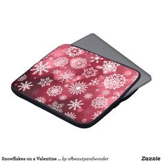 Shop Snowflakes on a Valentine Background Laptop Sleeve created by ofbeautyandwonder. Valentine Background, Custom Laptop, Best Laptops, Personalized Products, Christmas Fun, Laptop Sleeves, Snowflakes, Create Your Own, Zip Around Wallet