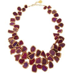 Devon Leigh Copper-Infused Howlite Statement Necklace featuring polyvore women's fashion jewelry necklaces ruby copper necklace multi layer necklace statement necklace copper bead necklace 14 karat gold necklace