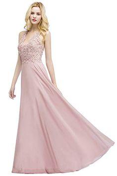 MisShow Damen elegant A Linie Chiffon Ballkleider Hochzeit Kleid mit Pailletten Prinzessin Abendkleider Maxilang