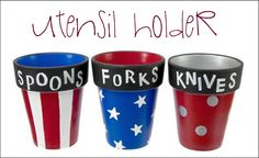 Clay pot utensil holders for a Memorial Day or Fourth of July party! 4. Juli Party, 4th Of July Party, Fourth Of July, July Crafts, Holiday Crafts, Holiday Fun, Kid Crafts, Holiday Ideas, Summer Crafts