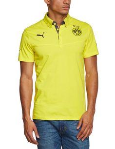 PUMA Herren BVB Polo, Blazing Yellow Dark Gray Heather, S, 743521 02