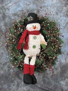 Cream Snowman Wreath  Berry Primitive Wreath