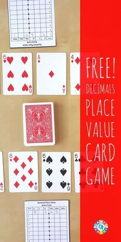 Using these playing cards with decimals can give the students a good way to switch up their numbers. They could play a game to exchange cards with their partners to come up with new decimals. They could use them to go from fractions to decimals. Place Value Cards, Math Place Value, Place Values, 5th Grade Math Games, Fifth Grade Math, Sixth Grade, Third Grade, Fourth Grade, Math Card Games