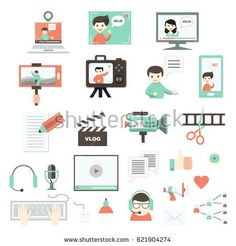 Modern set of vector flat icons for video blog and digital online media. Vlog and social media infographic elements. For web design, mobile app and e-learning advertising. Isolated on white.