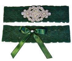 Forest Hunter Green Stretch Lace Wedding Garter by StylishBride, $27.95  Jen Antoniou Weddings and Events www.jenantoniouweddings.com events@jenantoniou.com 707-992-5872