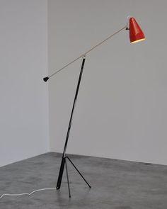 Wim Rietveld; #6320 Enameled Metal Floor Lamp for Gispem, 1953.