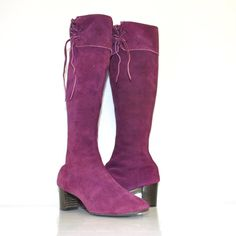 Vintage 60s Mod Purple Leather Suede Tall GoGo Boots