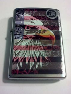 2014 New Design Eagle Flag Brushed Chrome Windproof Zippo Lighter #28652