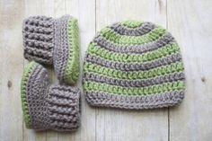 Newborn Crochet Hat and Booties / Baby Boy Hat by KKCrochetDesigns