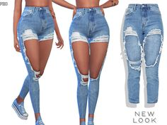 Promoted: new look high rise ripped denim jeans - the sims 4 Sims 4 Toddler Clothes, Sims 4 Mods Clothes, Sims 4 Cc Kids Clothing, The Sims 4 Pc, Sims Mods, Baby Shorts, Sims 4 Tsr, Sims Cc, New Look Jeans