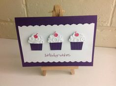 Cup Cake Punch by Stampin Up. Birthday Card.         www.facebook.com/MadeByMe2444