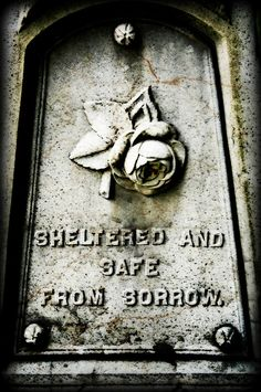 8x12 Sheltered and Safe From Sorrow, Cemetery Headstone, Gothic Photography, Halloween Photography, Fine Art Photography