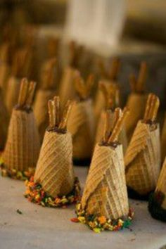 Tepee - made these for our thanksgiving table. Pretty simple to make. We put our place cards into the pretzels and they looked cute!
