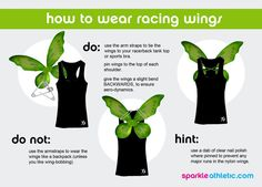 How to run with wings. I use fishing line and tie the wings back so they're more straight out from my back rather than out to the sides.  Keeps me from hitting people next to me with the wings, and keeps those behind me from getting to close and stepping on my heels