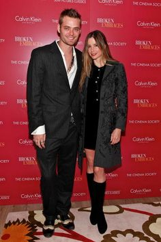 Christopher Backus and actress Mira Sorvino attend The Cinema Society Calvin Klein screening of 'Broken Embraces' at the Crosby Street Hotel on...