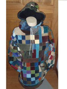 Crazy Patchwork Hoodie Random Patchwork Festival Concert Mens Hoodie Guys hoodie Med Womens hoodie womens crazy patchwork. $225.00, via Etsy.