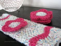 Hand crocheted flower face scrubbies and matching towel $15.00