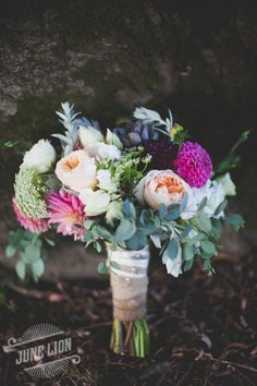 The bride's bouquet. A surprise gift from her sisters. Dahlias, peonies, succulents. Perfection <3 Rustic wedding. Barn wedding.