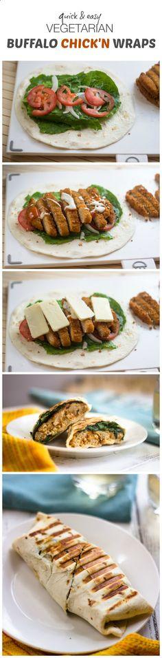 Quick  Easy Vegetarian Buffalo Chicken Wraps