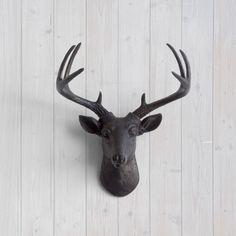The MINI Virginia Black Faux Taxidermy Resin Deer Head Wall Mount | Black Stag w/ Colored Antlers